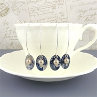 Picture of Denim Oval & Pearl Earrings
