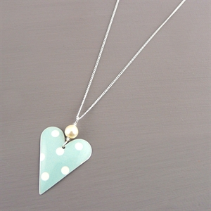 Picture of Spotty Mint Heart Necklace with Pearl