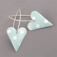 Picture of Spotty Mint Heart Earrings (Medium Earwires)