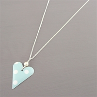 Picture of Spotty Mint Slim Heart Necklace with Pearl