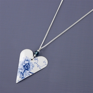 Picture of Denim Medium Heart & Crystal Necklace