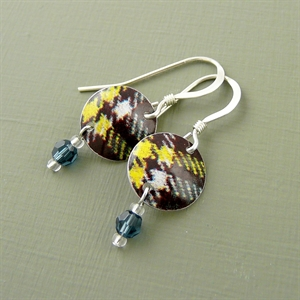 Picture of Tartan Disc & Crystal Earrings