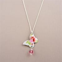 Picture of Pretty Floral Butterfly & Crystal Necklace