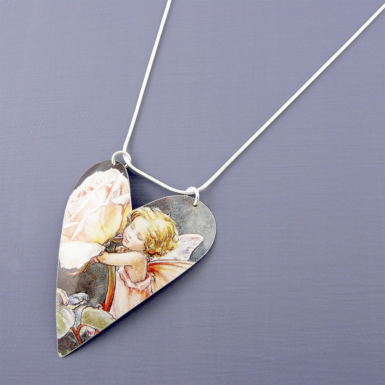 Fairy large heart necklace handmade jewellery by kate hamilton picture of fairy large heart necklace mozeypictures Choice Image