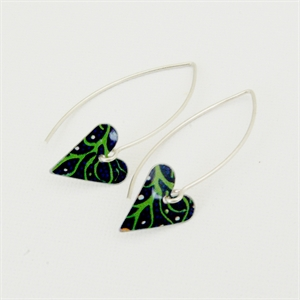 Picture of Midnight Floral Small Slim Heart Earrings (Medium Earwire)