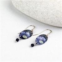 Picture of Midnight Floral Oval & Crystal Earrings JE-78MF