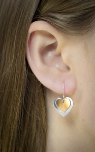 Picture of  Copper Rose Double Heart Earrings