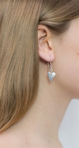 Picture of Aluminium Small Slim Heart & Crystal Earrings