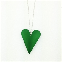 Picture of Green Aluminium Medium Slim Heart Necklace JS7