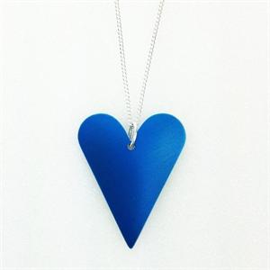Picture of Blue Aluminium Medium Slim Heart Necklace JS7