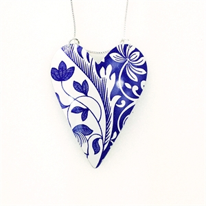 Picture of Italian Blue Large Heart Necklace