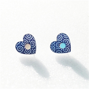 Picture of Italian Blue Heart Studs