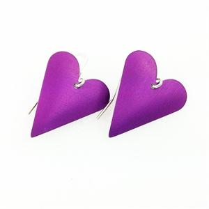 Picture of Purple Aluminium Medium Heart Earrings JE12