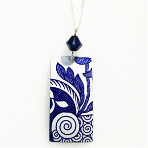 Picture of Italian Blue Rectangle & Crystal Necklace