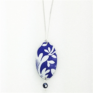 Picture of Italian Blue Oval & Crystal Pendant JS78