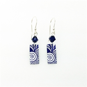 Picture of  Italian Blue Rectangle & Crystal Earrings