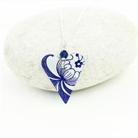 Picture of  Slim Heart Necklace Blue  Swarovski Crystal