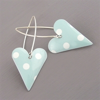 Picture of Spotty Mint Medium Heart Earrings