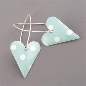 Picture of Spotty Mint Medium Heart Earrings