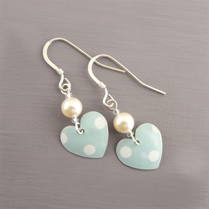 Picture of Spotty Mint Small Round Heart Earrings