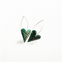 Picture of Green Tartan Long Medium Heart Earrings