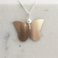 Picture of Copper Rose Butterfly & Crystal Necklace
