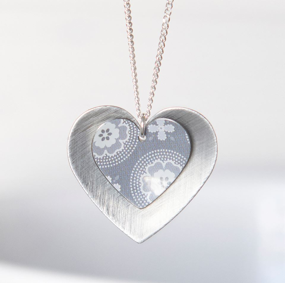 double avery dillards zi necklace heart sterling silver p james linked