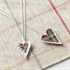 Picture of Red Double Tartan Slim Heart Necklace