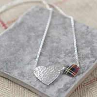 Picture of Red Two Hearts Tartan Necklace