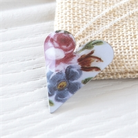 Picture of Painted Rose Medium Slim Heart Necklace