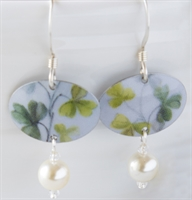 Picture of Painted Rose Oval & Pearl Earrings