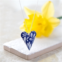 Picture of Italian Blue Medium Slim Heart Necklace