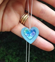 Picture of Violets are Blue Double Heart Necklace