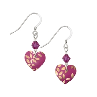 Picture of Kyoto Garden Fuchsia Heart Earrings and Crystal