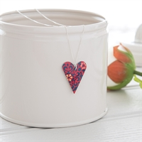 Picture of Damask Red Medium Slim Heart Necklace