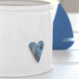 Picture of Damask Blue Medium Slim Heart Necklace