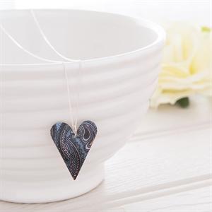 Picture of  Damask Purple Medium Slim Heart Necklace