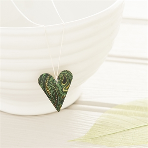 Picture of Damask Green Medium Slim Heart Necklace