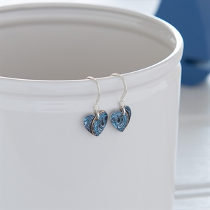 Picture of Damask Blue Small Round Heart Earrings