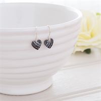 Picture of Damask Purple Small Round Heart Earrings