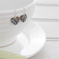Picture of  Damask White Small Round Heart Earrings