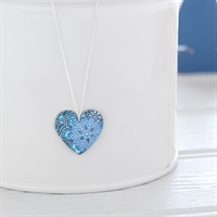 Picture of Damask Blue Round Heart Necklace