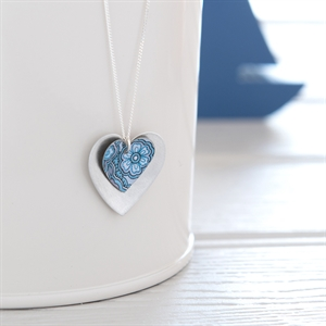 Picture of Damask Blue Double Heart Necklace