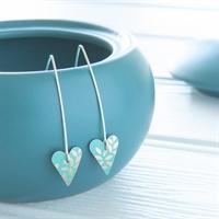 Picture of Kyoto Garden Jade Green Long Heart Earrings
