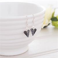 Picture of Damask Purple Slim Heart Earrings & Crystal