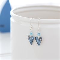 Picture of Damask Blue Slim Heart Earrings & Crystal