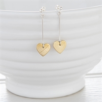 Picture of Long Silver and Brass Heart Earrings