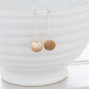 Picture of Long Silver and Brass Disc Earrings
