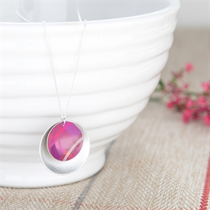 Picture of Pink Tartan Double Disc Necklace