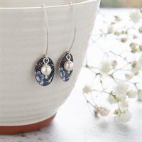Picture of Midnight Floral Oval & Pearl Earrings